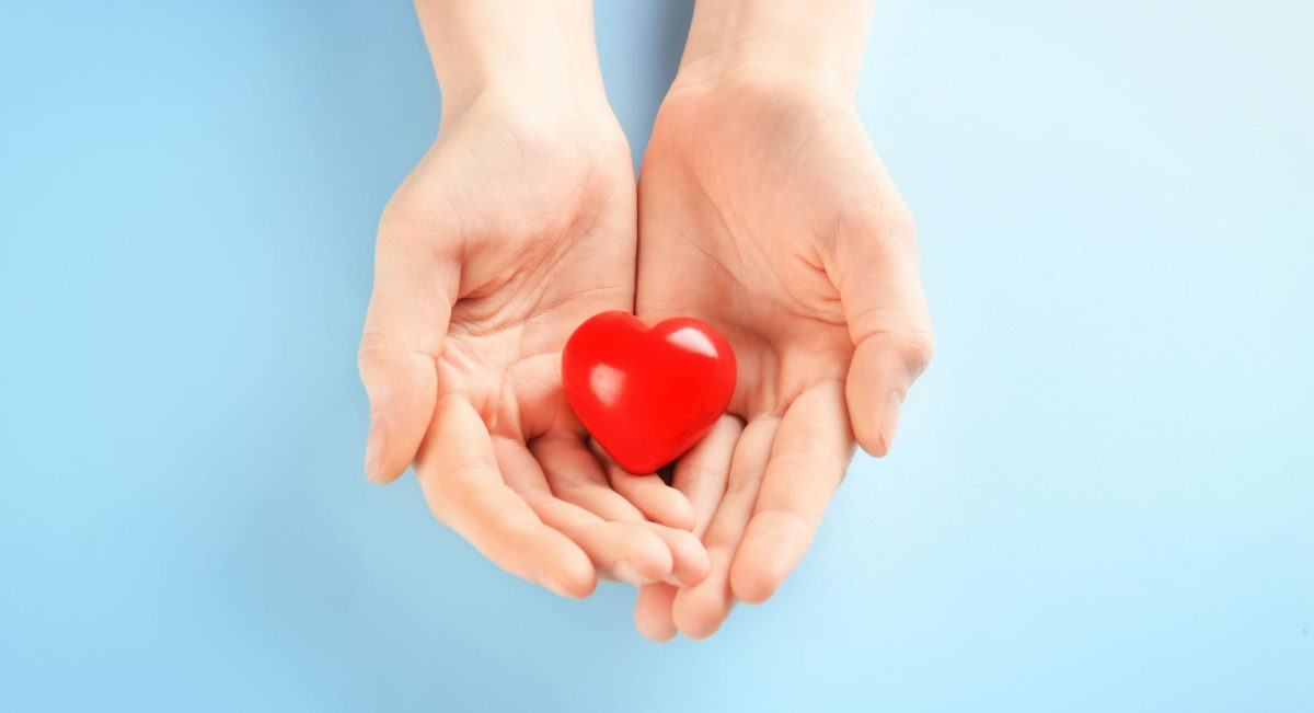 Hands holding a heart shape, symbolising giving.
