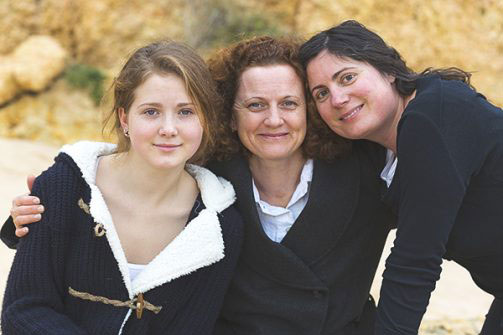 Woman with two daughters