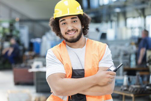 Young man on construction site